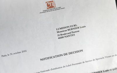 Lumisson obtient le label des Prestataires de Service du Spectacle Vivant